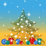 Greeting card for the winter holidays. Below a number of bright Christmas tree balls, tree silhouette with snowflakes and stars. V. Ector background with a Stock Photography