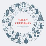 Greeting card for Winter Holidays with Christmas and New Year symbols Royalty Free Stock Photography
