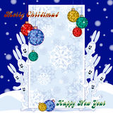 Greeting card for the winter holidays. Shape for the congratulatory text because of which look out funny hares. Banner with gentle. Background color with Stock Photo