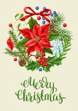 Greeting card with winter plants. Merry Christmas holiday decoration. Forest branches background in vintage style Royalty Free Illustration