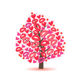 Greeting Card With A Tree Hearts And Lips Traces Stock Images