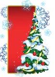 Greeting Card With Christmas Tree Stock Photo