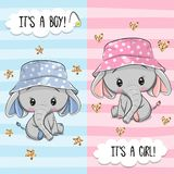 Greeting Card With Cute Elephant Boy And Girl Stock Photography