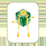 Greeting Card With Dance Gift Box Holiday Stock Image
