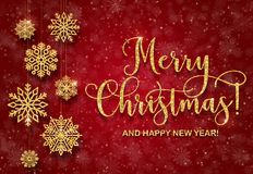 Free Greeting Card With Golden Text On A Red Background. Glitter  Merry Christmas And Happy New Year Royalty Free Stock Photo - 105672635
