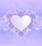 Greeting Card With Heart Shape. Flowers Royalty Free Stock Photography