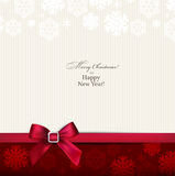 Greeting Card With Red Bow. Royalty Free Stock Images