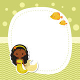 Greeting card withcute girl mermaid. vector illustration