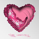 Greeting card with Women`s day. Abstract paper cut hair, woman face, holiday background. royalty free stock photo