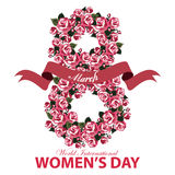 Greeting card for Women's Day banner with the number eight of roses flowers and ribbon on white background Stock Image