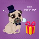 Greeting card for Women`s Day with a cute pug. Cartoon dog with flower and gift box. Vector illustration for a postcard or a poster. Text `Happy Women`s Day Stock Illustration