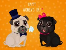 Greeting card for Women`s Day with cute pugs. Cartoon dogs on a yellow background. Vector illustration for a postcard or a poster. Text `Happy Women`s Day Stock Illustration