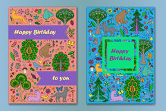 Greeting card with Wonderland Fun Forest. Greeting cards of colorful doodle forest animals and plants. Happy Birthday cards set. Vector illustration of cover Royalty Free Stock Images