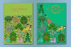 Greeting card with Wonderland Fun Forest. Greeting cards of colorful doodle forest animals and plants. Happy Birthday cards set. Vector illustration of cover Stock Photo