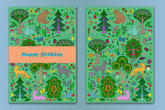 Greeting card with Wonderland Fun Forest. Greeting cards of colorful doodle forest animals and plants. Happy Birthday cards set. Vector illustration of cover Stock Photos