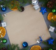 Greeting card on wooden background . stock photos