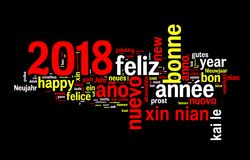 2018 word cloud on black background, new year translated in many languages. 2018 greeting card, word cloud on black background, new year translated in many stock illustration