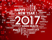 2017 Greeting card. Greeting words around 2017 year type on a festive red background Royalty Free Stock Image