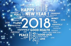 2018 Greeting card. Greeting words around year 2018 typescript on a festive blue background Royalty Free Stock Images
