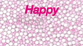 Greeting card with words HAPPY VALENTINE S DAY coming out of a lot of white and pink balls while falling pink hearts. 3D animation royalty free illustration