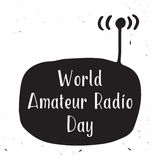 Greeting card of the World Amateur Radio Day Stock Photography