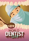 Greeting card. World dentist day. Greeting card. Holiday March 6 - World dentist day. Vector illustration: Dentist examines teeth Stock Photography
