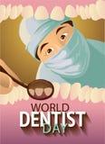 Greeting card. World dentist day. Greeting card. Holiday March 6 - World dentist day. Vector illustration: Dentist examines teeth stock illustration