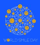 Greeting card World Smile Day line. Greeting card. Holiday - World Smile Day. concept of charging the smile of the whole world stock illustration