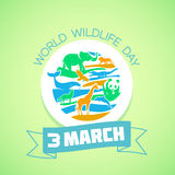 Greeting card World Wildlife Day. Calendar for each day on March Stock Photo