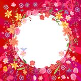 Greeting card with wreath of different flowers Stock Photography
