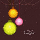 Greeting card with Xmas Ball for New Year. Elegant greeting card with floral design decorated Xmas Balls for Happy New Year celebration Stock Image
