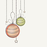Greeting card with Xmas Balls for New Year. Elegant greeting card design with hanging Xmas Balls and stars for Happy New Year celebration Royalty Free Stock Photography