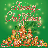 Greeting Card of xmas gingerbread - cookies in angel, star, moon Royalty Free Stock Photo