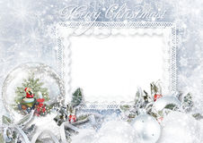 Greeting Card with Xmas Snow globe on frost background Royalty Free Stock Images