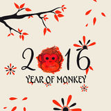 Greeting card for Year of Monkey celebration. Greeting card with stylish text 2016 and cute Monkey face for Chinese New Year celebration Stock Photo