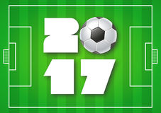 Greeting card for 2017 Year with soccer ball on bright green background. Sport, football, games theme. Modern Creative Vector Design Print Template. FLyer vector illustration