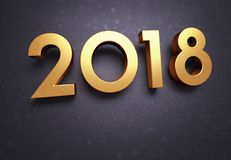 2018 Greeting card. Year 2018 typescript date, gold colored, on a soft glittering black greeting card Stock Image