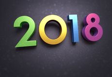 2018 Greeting card. Year 2018 typescript date, multicolored, on a soft glittering black greeting card Stock Photography