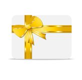 Greeting-card with  a yellow bow and  mestome for text Royalty Free Stock Image