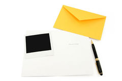 Greeting card and yellow envelope Royalty Free Stock Images