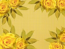 Greeting card with yellow roses royalty free stock photos