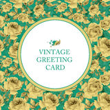 Greeting card with yellow roses on turquoise background. Stock Photos
