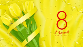 Greeting card with yellow tulips Stock Photo
