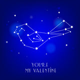 Greeting card You`re my valentine with star and constellation bird. Stock Photography