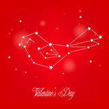 Greeting card You`re my valentine with star and constellation bird. Royalty Free Stock Photo