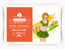 Greeting card with young girl for St. Patricks Day celebration. Happy St. Patricks Day celebration postcard design with young leprechaun girl holding beer mugs Royalty Free Stock Images