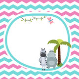 Greeting card with zebra and hippo. Royalty Free Stock Images