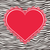 Greeting card with zebra texture and heart Royalty Free Stock Photos
