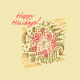 Greeting card with zigzag ornamentation and inscriptions. Royalty Free Stock Image