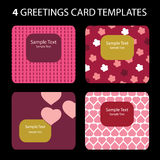 Greeting Cards. 4 Greeting Cards: Valentine's Day Royalty Free Stock Photo